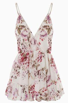 Sexy V Neck Spaghetti Strap Sleeveless Flouncing Hem Design Floral-print White One-piece Jumpsuit