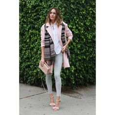 Click the photo to shop the look | Louise Roe of Front Roe wearing an ASOS pink long coat, light skinny jeans,  tribal print scarf, nude ankle strap sandals, BCBG white collared shirt, and metallic pink clutch | Follow @liketoknowit on Pinterest for more outfit inspiration #liketkit