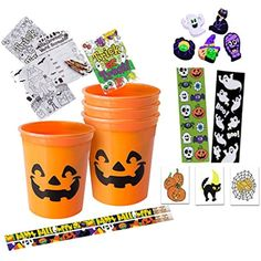 Happy Halloween Orange Jack-o'-Lantern Pre-Filled Favor Cups! Perfect For Classroom Gift Exchange, Halloween Party Favors  #PartyFavors