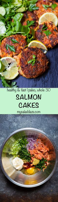 SALMON CAKES are a terrific way to use leftover salmon. These delicious patties can be served as an easy appetizer or main course. #salmon #salmoncake #crabcake #seafood #paleo #whole30 #mysaladdaze | mysaladdaze.com