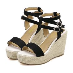 Black Buckle Wedge Sandals (€28) ❤ liked on Polyvore featuring shoes, sandals, wedges, black, heels, platform sandals, chunky heel sandals, wedge heel sandals, black heel sandals and platform wedge sandals