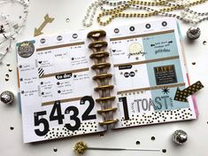 NEW YEAR! These black & gold-themed pages in The Happy Planner™ of mambi Design Team member Megan McKenna comes alive with her large mambiSTICKS number countdown. Planner Layout, Planner Pages, Life Planner, Planner Stickers, Planner Ideas, Year Planner, Planner Journal, Weekly Planner, Create 365 Happy Planner