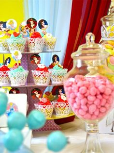 Sweet Vintage Barbie Girls Birthday Party from Sweet Event Design Candy & Dessert Buffet Bar yellow-pink-girl-birthday-tea-party featured on Hostess with the Mostess® - Vintage Barbie Birthday Disney Princess Birthday Party, Disney Princess Cinderella, Princess Cupcakes, Barbie Birthday, Disney Princess Party, Girl Birthday, Birthday Parties, Birthday Ideas, Barbie Party