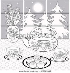 Background with dessert, tea and flowers on the background of the window. Template for menu, Wallpaper, pattern fills, coloring pages for kids and adults. Black and white - stock photo