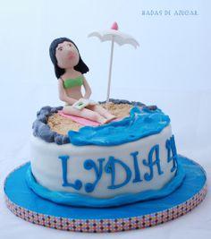 Tarta playa Hadas de Azúcar / Girl and beach in the summer fondant cake