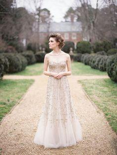 Metallic Gold Monique Lhuillier Wedding Dress | Elisa Bricker Photography | See More! http://heyweddinglady.com/fab-bridal-alternatives-white-wedding-dress/