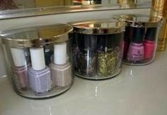 Old candle jars to display nail polish