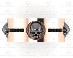 'Luna De Saturno' 0.15ct Natural Black Diamond Mens Rose Gold Skull Wedding Band
