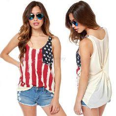 American Flag Printed Chiffon Blouse Patchwork Back Chiffon Sleeveless Tank Tops Tshirt Plus Sizes