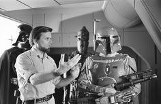 Gary Kurtz & Jeremy Bulloch as Boba Fett behind the scenes on #StarWars Episode V - The Empire Strikes Back (1980)