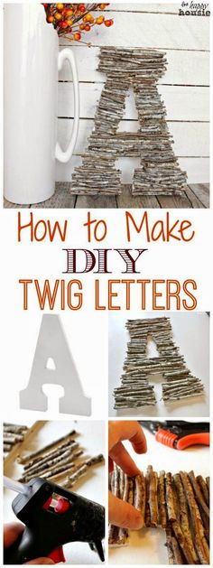 DIY Wall Letters and Initals Wall Art - DIY Twig Letters - Cool Architectural Letter Projects for Living Room Decor, Bedroom Ideas. Girl or Boy Nursery. Paint, Glitter, String Art, Easy Cardboard and (Cool Crafts To Sell) Twig Crafts, Nature Crafts, Easy Diy Crafts, Fall Crafts, Crafts To Make, Wood Crafts, Crafts For Kids, Arts And Crafts, Diy Crafts At Home