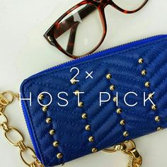 """~2× HP~Colbolt Blue Faux Leather Studded Wallet 2× HP. """"Under One Sky"""". Used For ONE WEEK!.! GREAT Condition. Studded Quilted Chevron Print.  >  MEASUREMENTS  Length : 7 1/2"""" Height: 4""""  {MAKE OFFER}  Please Ask Questions Before Purchasing.   ALL SALES ARE FINAL  ■NO TRADES ■NO PAYPAL ■NO HOLDS ■NO LOW BALL OFFERS Under One Sky Bags Wallets"""