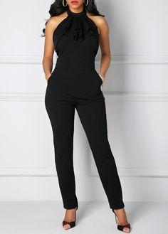 Solid Black Pocket Halter Neck Jumpsuit on sale only US$34.42 now, buy cheap Solid Black Pocket Halter Neck Jumpsuit at liligal.com