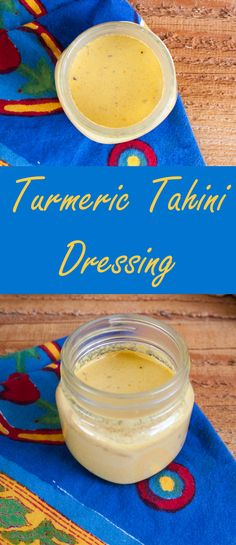 Turmeric Tahini Dressing (vegan, gluten free - sub date paste) This savory dressing is really versatile. It goes well with sweet and savory flavors. Vegan Sauces, Vegan Foods, Protein Shakes, Raw Food Recipes, Snack Recipes, Healthy Recipes, Salad Recipes, Vegetarian Recipes, Vegetarian Salad