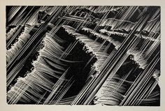 "Wood Engraving for Alec Waugh's ""Hot Countries"" - 1930 - by Lynd Ward. http://en.wikipedia.org/wiki/Lynd_Ward Tags: Linocut, Cut, Print, Linoleum, Lino, Carving, Block, Woodcut, Helen Elstone, Sea, Waves, Storm, Rain"