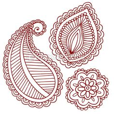 paisley tattoo designs | ... vector henna tattoo paisley flower doodle vector design elements set