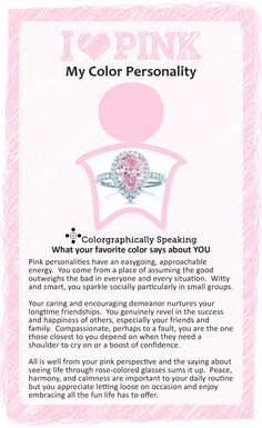 Pink: ♥ #Pink? Find out what your favorite color says about you in the I ♥ Color series from The Land of Color.