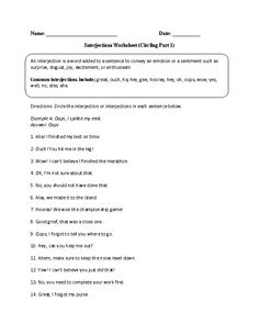 Worksheet Interjections Worksheet activities comprehension and reading worksheets on pinterest interjections worksheet circling part 1 advanced