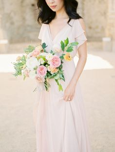 6fe88bf7c4f A Pink Dress + Pretty Bouquet to Fulfill All Our Girlie Dreams