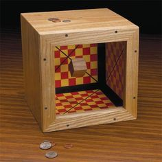 Magic Coin Bank Woodworking Plan by Woodcraft Magazine Woodworking Power Tools, Woodworking Projects Plans, Woodworking Toys, Magic Tricks Illusions, Magic Coins, Wood Projects, Projects To Try, Wood Magazine, Wooden Cubes