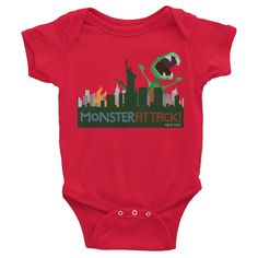 New York Attacked by Dino the Dinosaur - Infant short sleeve one-piece