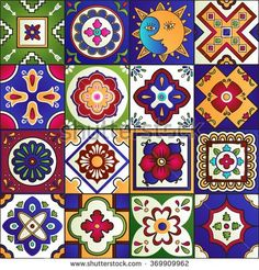 Illustration of Talavera set of 16 mexican tiles. Seamless pattern vector art, clipart and stock vectors. Mexican Pattern, Mexican Ceramics, Mexico Art, Native American Pottery, Mexican Designs, Blue Pottery, Turkish Art, Tile Art, Tile Patterns