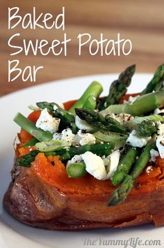 Bake sweet potatoes in the crockpot plus BAKED SWEET POTATO BAR for a fun, healthy family meal or party buffet Baked Potato Bar, Loaded Baked Potatoes, Potato Pie, Healthy Family Meals, Tasty Meals, Paleo Meals, Family Recipes, Cooking Recipes, Healthy Recipes