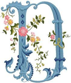 alfabeto celeste con flores D