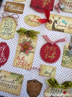 One Lucky Day: Mini Handwritten Holiday tags using Tim Holtz, Ranger, Sizzix and Stamper's Anonymous products; Nov 2014