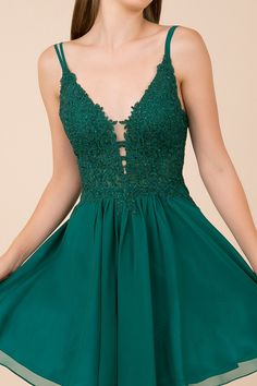 Nox Anabel - G679 Rhinestone-Studded Lace A-Line Dress
