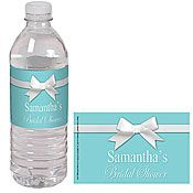 Turquoise with White Ribbon Water Bottle Labels