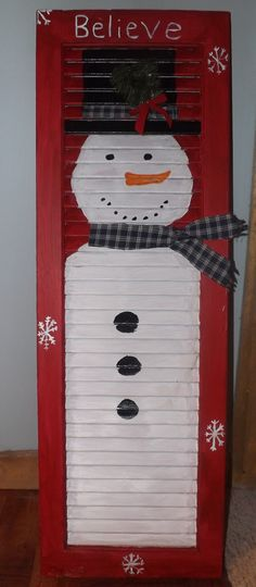 We had shutters on the house when we bought it . need to find them in the ho. - We had shutters on the house when we bought it . need to find them in the horse barn and repurpo - Snowman Crafts, Christmas Projects, Holiday Crafts, Holiday Fun, Holiday Decor, Christmas Snowman, Winter Christmas, Christmas Holidays, Christmas Decorations