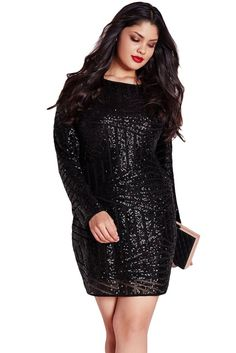 When it comes to the perfect going out dress for full-figured ladies, we've got your covered. With this always on trend black beaut, this mini dress features a velvet and sequin finish in a super flat