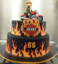 harley cake #AddictedToHarleyDavidson Motorcycle Birthday Cakes, 30th Birthday Cakes For Men, Motorcycle Cake, Torta Harley Davidson, Harley Davidson Birthday, Fondant Cakes, Cupcake Cakes, Cupcakes, Bolo Motocross