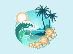 The great Tropical Beach Graphical Element Tropical Tattoo, Freundin Tattoos, Hawaiian Art, Beach Design, Surf Art, Beach Art, Vector Art, Vector Graphics, Art Drawings