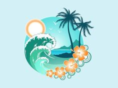 The great Tropical Beach Graphical Element Tropical Tattoo, Tenacious D, Ocean Tattoos, Tatoos, Freundin Tattoos, Hawaiian Art, Beach Design, Surf Art, Beach Art
