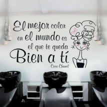 Vinilos decorativos peluquerías frase coco chanel Home Hair Salons, Mickey Mouse Art, Nail Room, Beauty Salon Decor, Playing With Hair, Beauty Studio, Cosmetology Tattoos, Nail Spa, Barber Shop