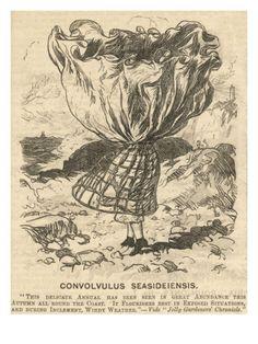 Crinoline in High Wind Giclee Print Satirical Illustrations, Victorian Illustration, Hoop Skirt, Fashion History, Women's Fashion, Satire, Victorian Fashion, Giclee Print, Artsy