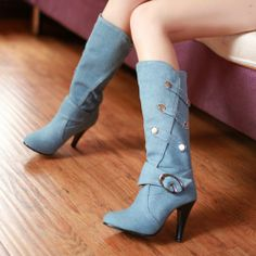 new style  3colors for option Buckle Strap Rubber Knee-High boots for women QS-6673