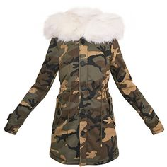 Fliss White Premium Camo Faux Fur Lined Parka ❤ liked on Polyvore featuring outerwear, coats, camouflage coat, camo parka, faux fur lining coat, white coat and camouflage parka