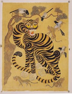 Korean folk art. Tiger, birds.