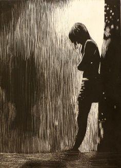 paintings Sad Drawings, Mermaid Drawings, Sad Paintings, Depression Art, Beautiful Landscape Wallpaper, Dark Art Illustrations, Silhouette Painting, Cartoon Girl Images, Rain Photography