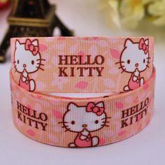 "7/8"" 22mm Hello Kitty Cartoon Printed grosgrain ribbon party decoration satin ribbons DIY Hairbow sewing supplies 10Y X-00159"