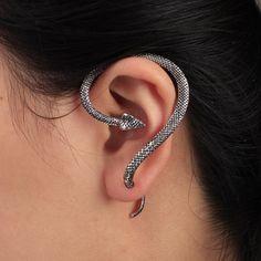 Gothic Punk Snake Bite Ear Cuff Wrap Clip Single Earring