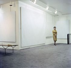 Yayoi Kusama with works from her Infinity Net series at the Stephen Radich Gallery, New York, 1961