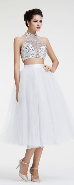 Lavender Two Piece Prom Dresses Ball Gown Homecoming Dresses ...