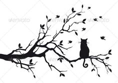 Cat Sitting On Tree - Animals Characters