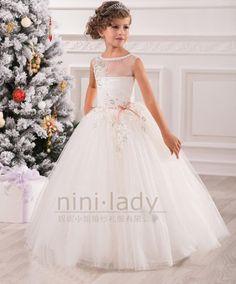 Blanc robe de communion princesse fille mariage robe for Robes de demoiselle d honneur mariage marine