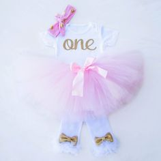 Pink and Gold First Birthday Outfit Winter with Legwarmers and Pink Tutu