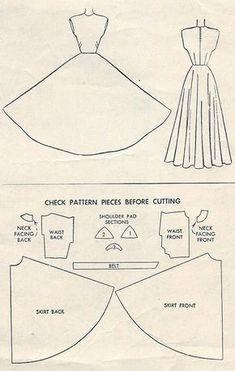 Dress Sewing Patterns, Vintage Sewing Patterns, Clothing Patterns, Dress Sewing Tutorials, Patterns For Dresses, Dress Paterns, Evening Dress Patterns, Sewing Diy, Sewing Ideas